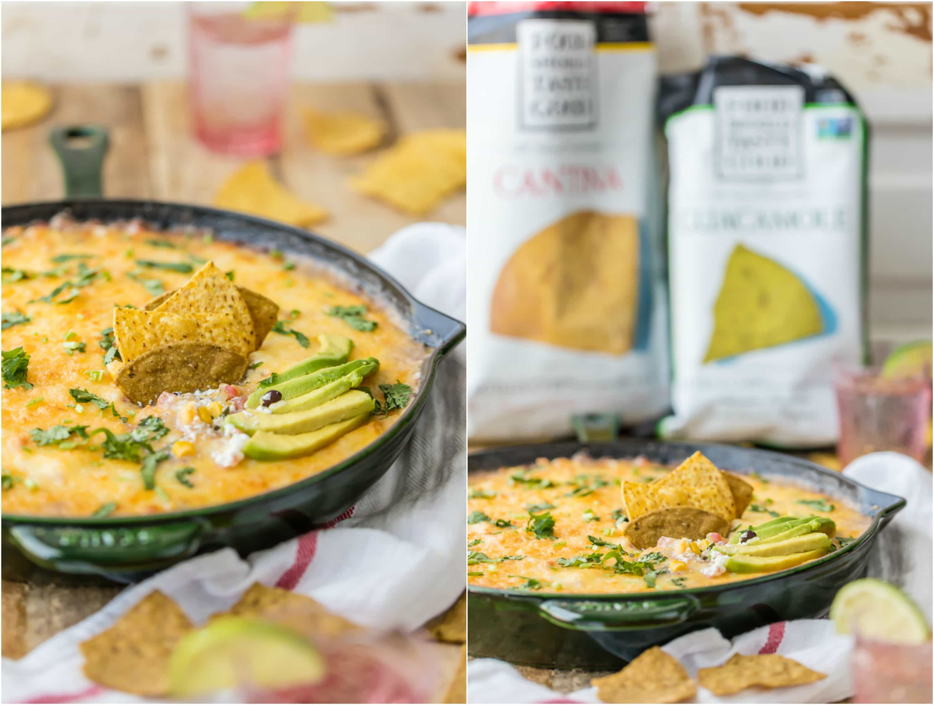 Who says 7 Layer Dip has to be cold? HOT 7 LAYER DIP SKILLET is the perfect tailgating dip for Cinco de Mayo! My favorite dip made in a skillet. YUM!