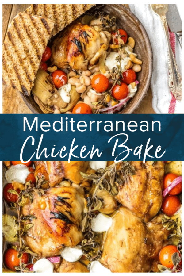 mediterranean chicken bake pinterest collage