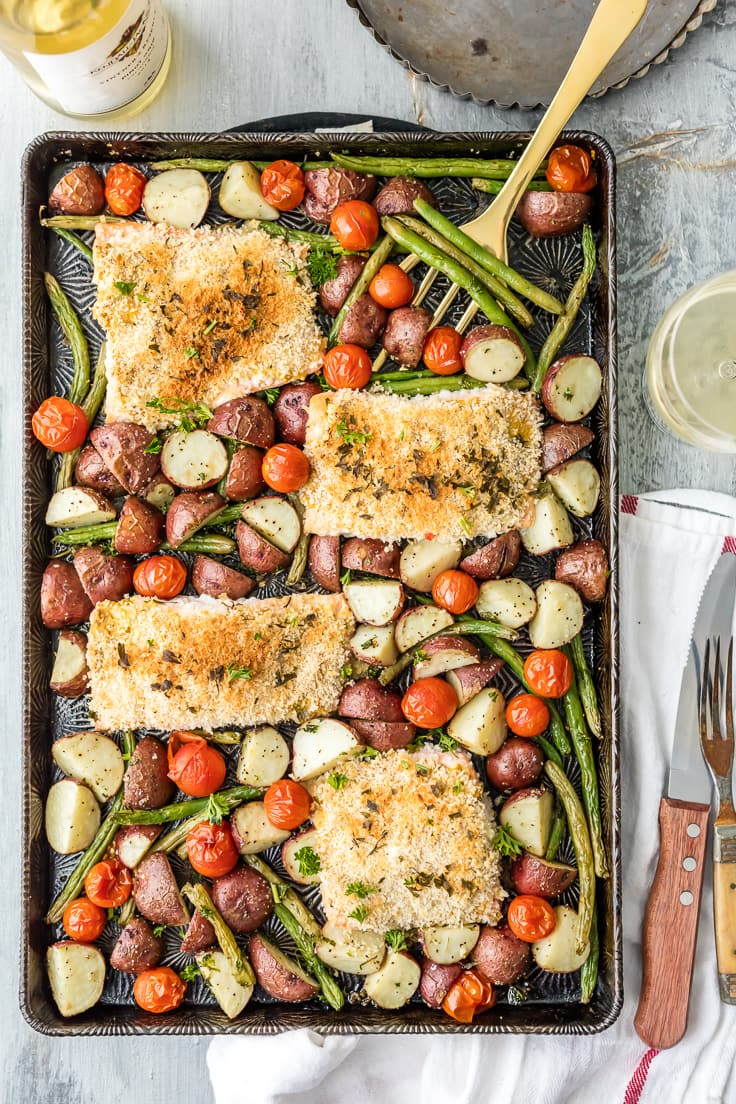 Sheet Pan Honey Mustard Crusted Salmon is the perfect healthy one pan ...