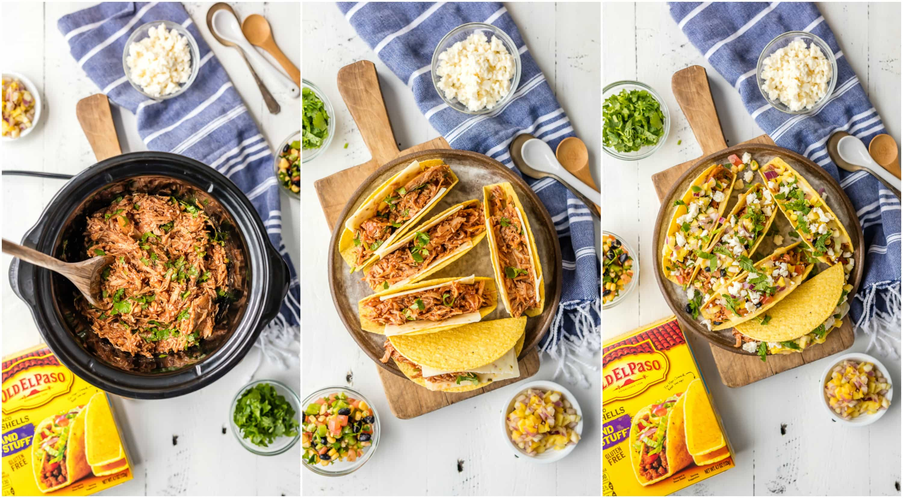 step by step making slow cooker chicken tacos