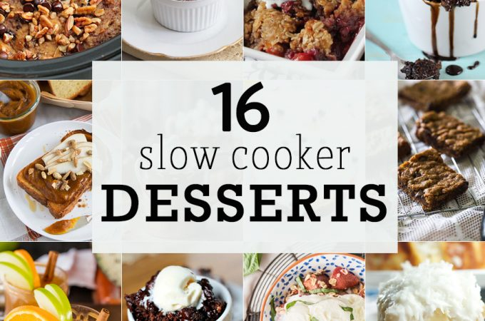 16 SLOW COOKER DESSERTS! Desserts you can make in a crockpot are the BEST and easiest dessert recipes! From crockpot creme brûlées to slow cooker brownies. BEST ROUNDUP EVER!
