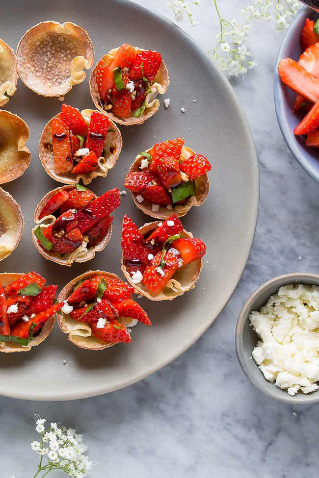 Strawberry Balsamic Bites with Feta and Basil | Sweet Peas and Saffron