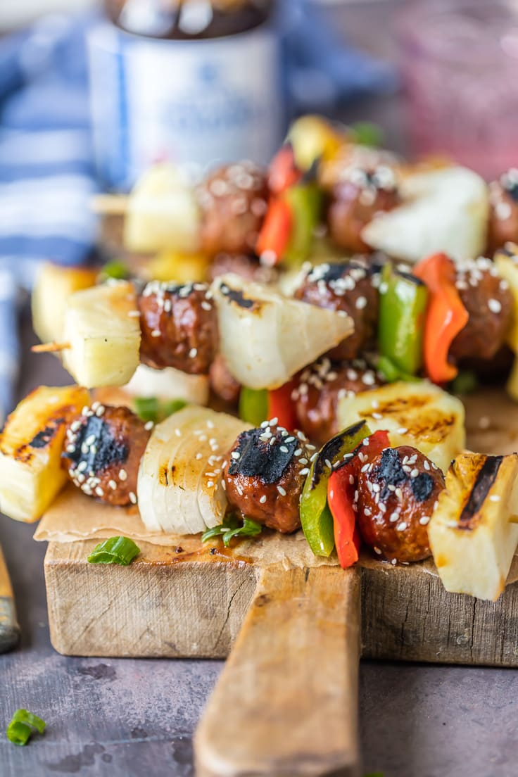 Fire up the grill for CHICKEN TERIYAKI MEATBALL SKEWERS! Loaded with grilled onion, peppers, pineapple, and chicken meatballs! Healthy and delicious meal.