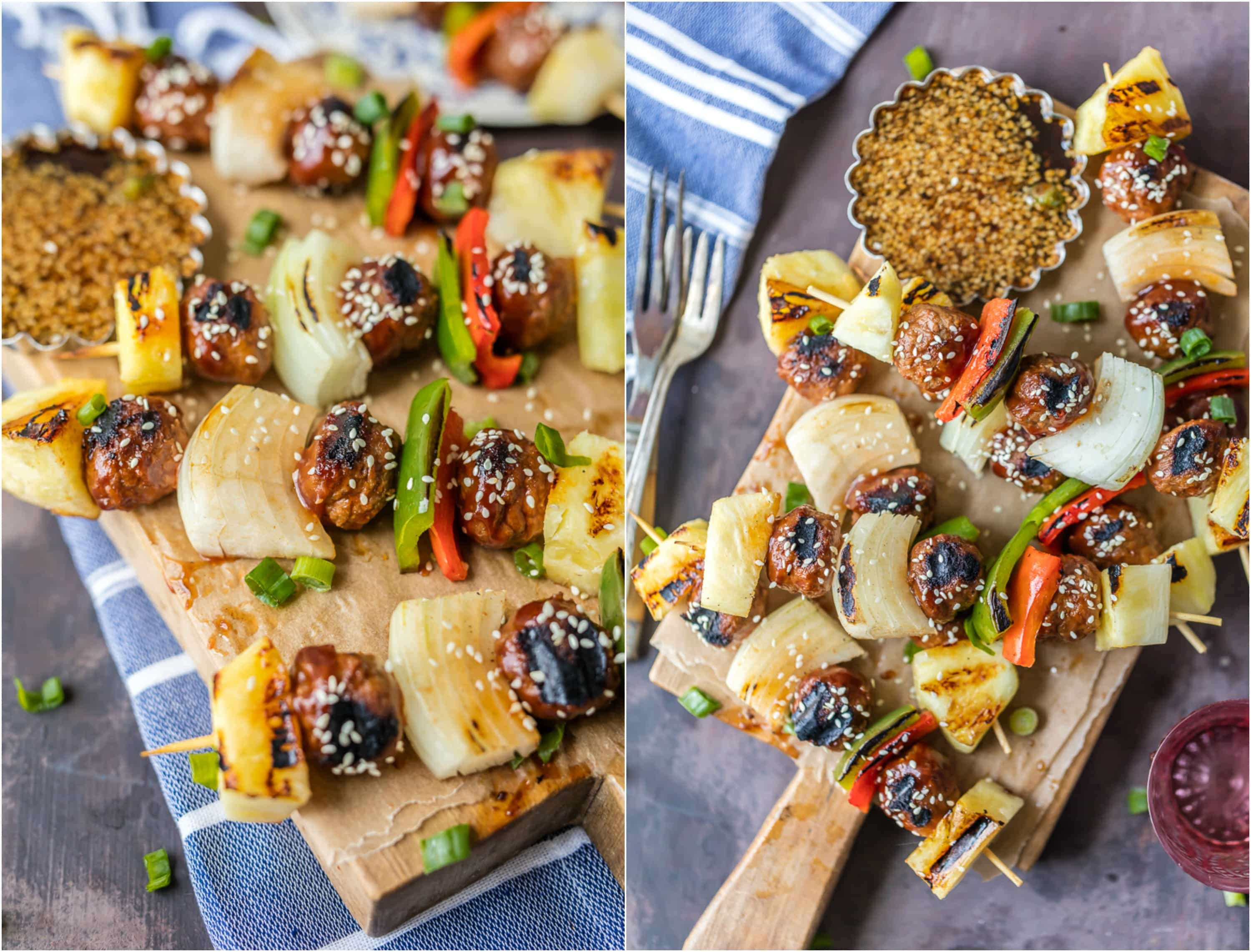 Fire up the grill for CHICKEN TERIYAKI MEATBALL SKEWERS! Loaded with grilled onion, peppers, pineapple, and chicken meatballs! Healthy and delicious meal. Fire up the grill for CHICKEN TERIYAKI MEATBALL SKEWERS! Loaded with grilled onion, peppers, pineapple, and chicken meatballs! Healthy and delicious meal.