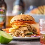 Drunken Garlic Ginger Pulled Pork Sandwiches