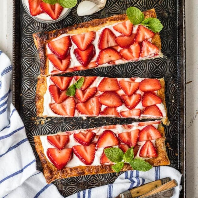 strawberry tart on sheet