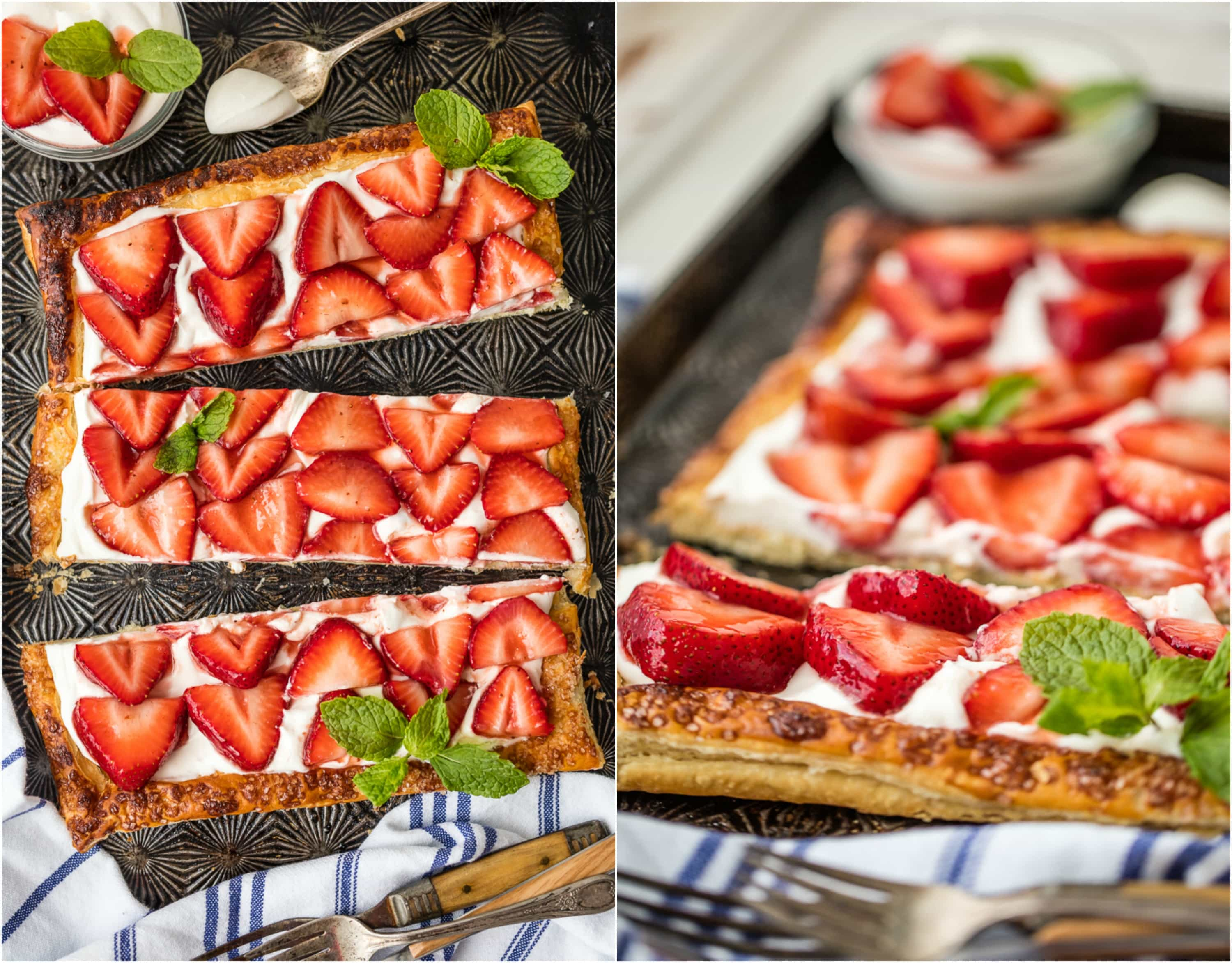 This SUPER EASY PUFF PASTRY STRAWBERRY TART is our favorite simple Summer sweet treat. Made in minutes, it's delicious on its own or topped with vanilla ice cream! I can't get enough!!
