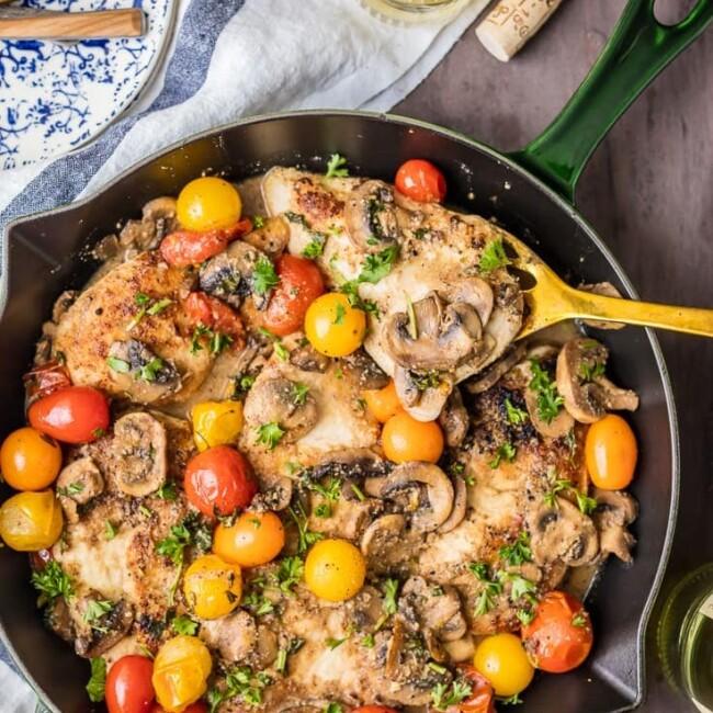 gluten free chicken marsala in a skillet