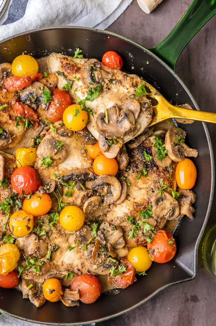 GLUTEN FREE CHICKEN MARSALA is easy, healthy, and delicious! This one pot skillet skinny Chicken Marsala is made with almond meal and no cream. It's the perfect family meal you can feel good about!