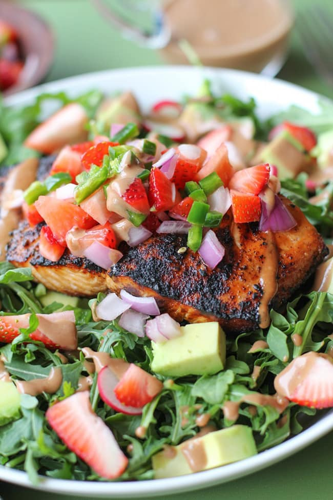 Grilled Salmon with Strawberry Salsa | The Roasted Root