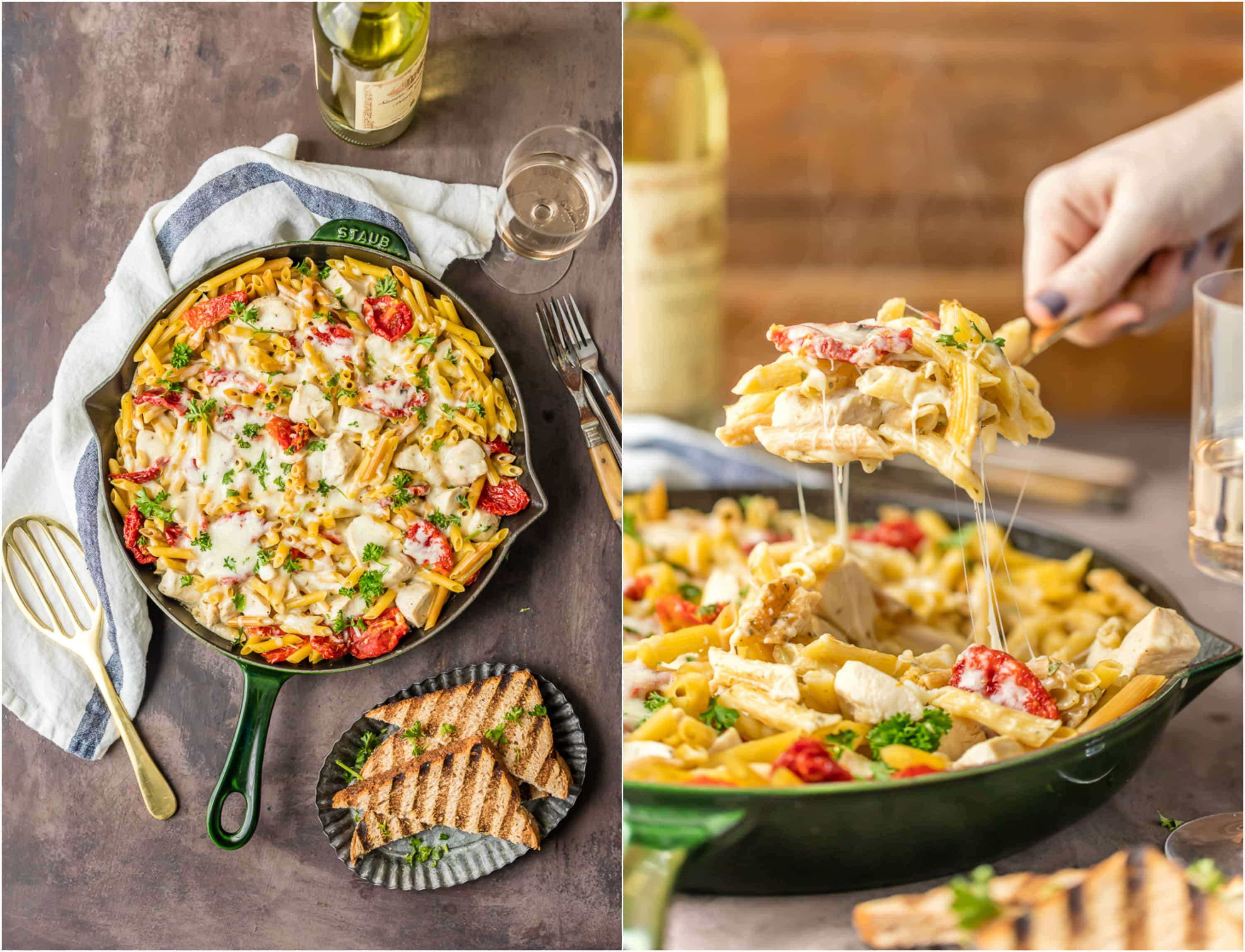 one pot chicken alfredo in a skillet