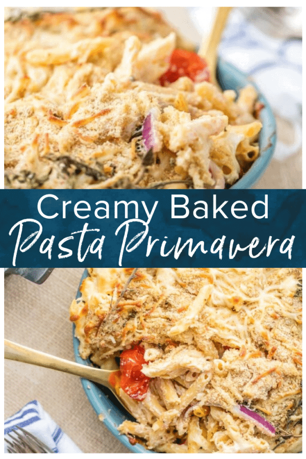 baked pasta primavera pinterest collage