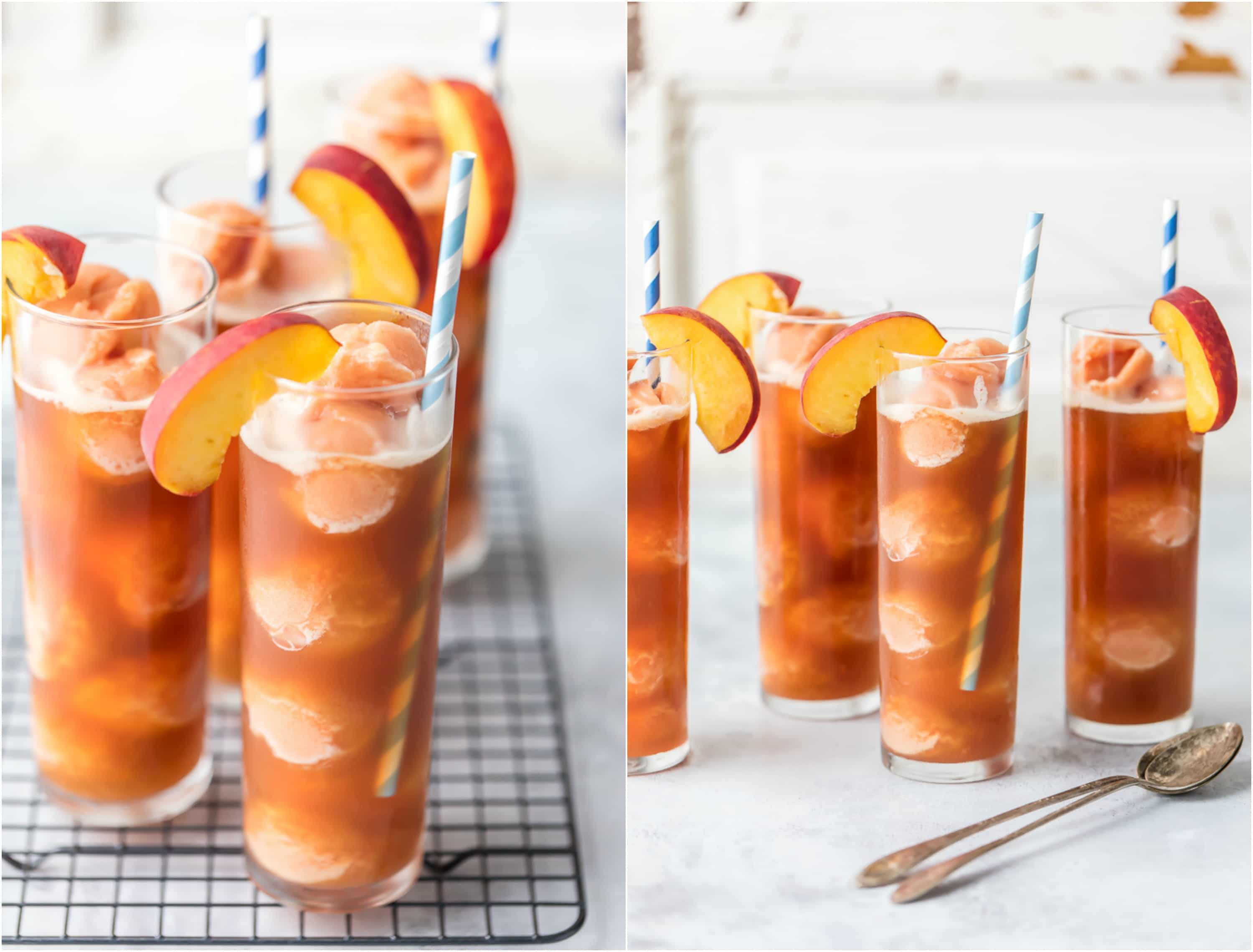 Cool off this Summer with Peach Tea Ice Cream Floats! Fill a tall glass with peach ice cream, sorbet, or sherbet, and top with Iced Tea! Delicious, refreshing, and perfect!