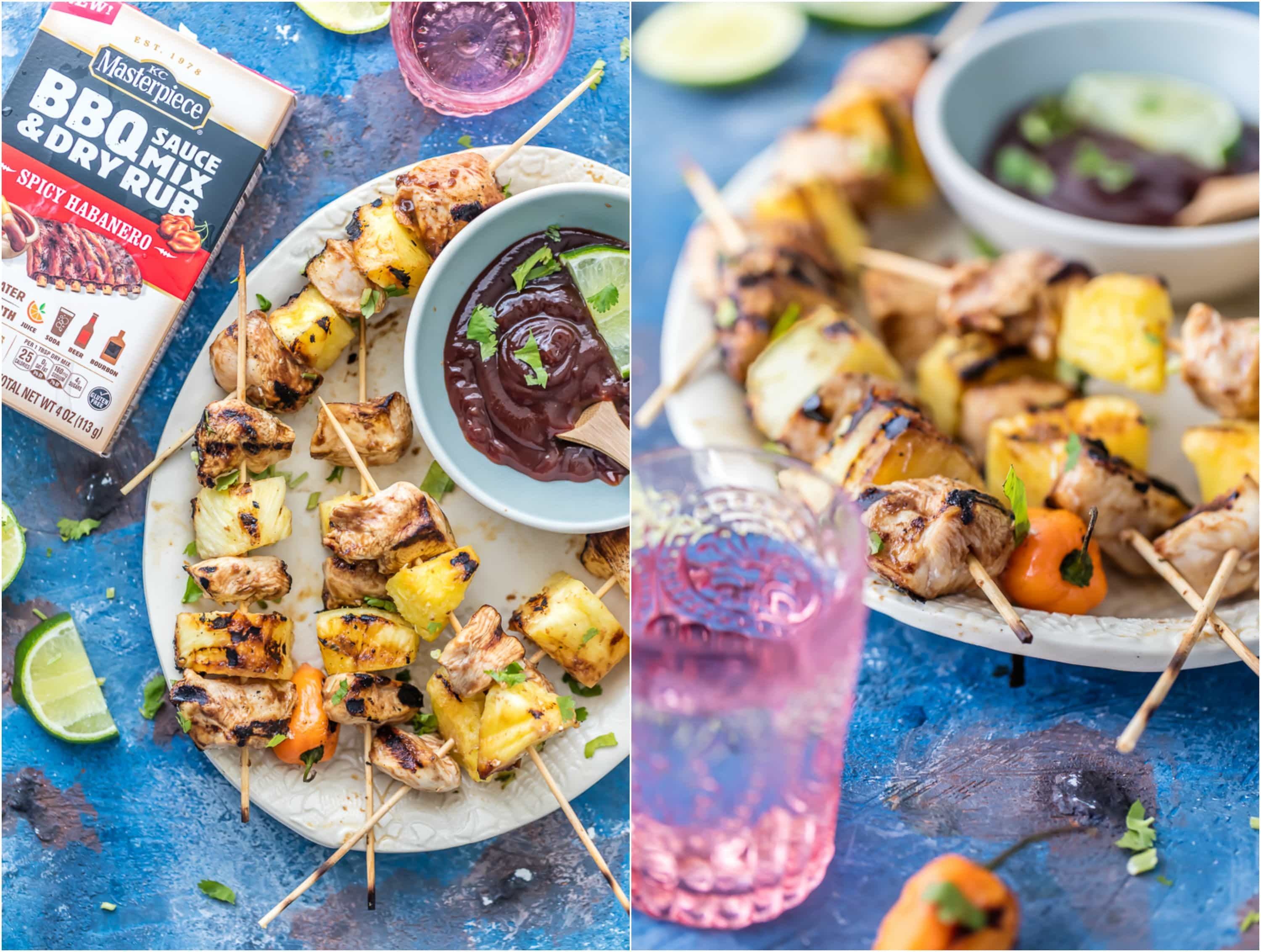 Spicy PINEAPPLE HABANERO BBQ CHICKEN KEBABS are our favorite summer easy grill recipe! So much flavor and mix of sweet and spicy on these skewers! Best BBQ recipe for Summer!