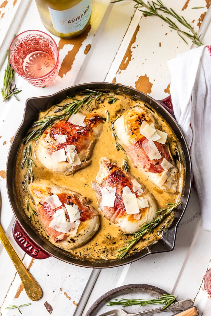 prosciutto wrapped chicken in a skillet