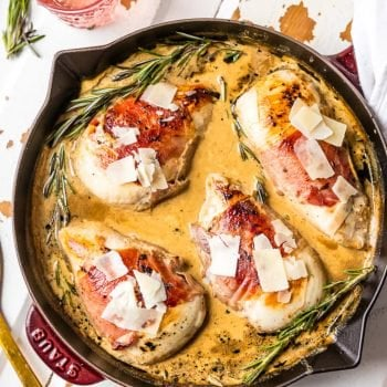 PROSCUITTO WRAPPED SHERRY CREAM CHICKEN SKILLET is our favorite EASY and quick dinner! So much flavor and made in under 30 minutes! The cream sauce...I can't get enough!