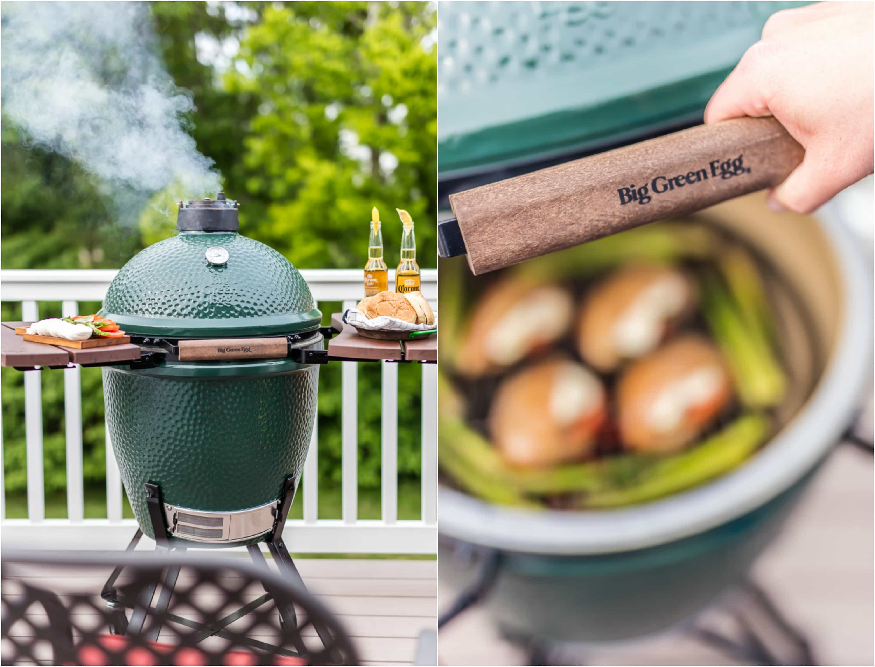 green egg grill on patio