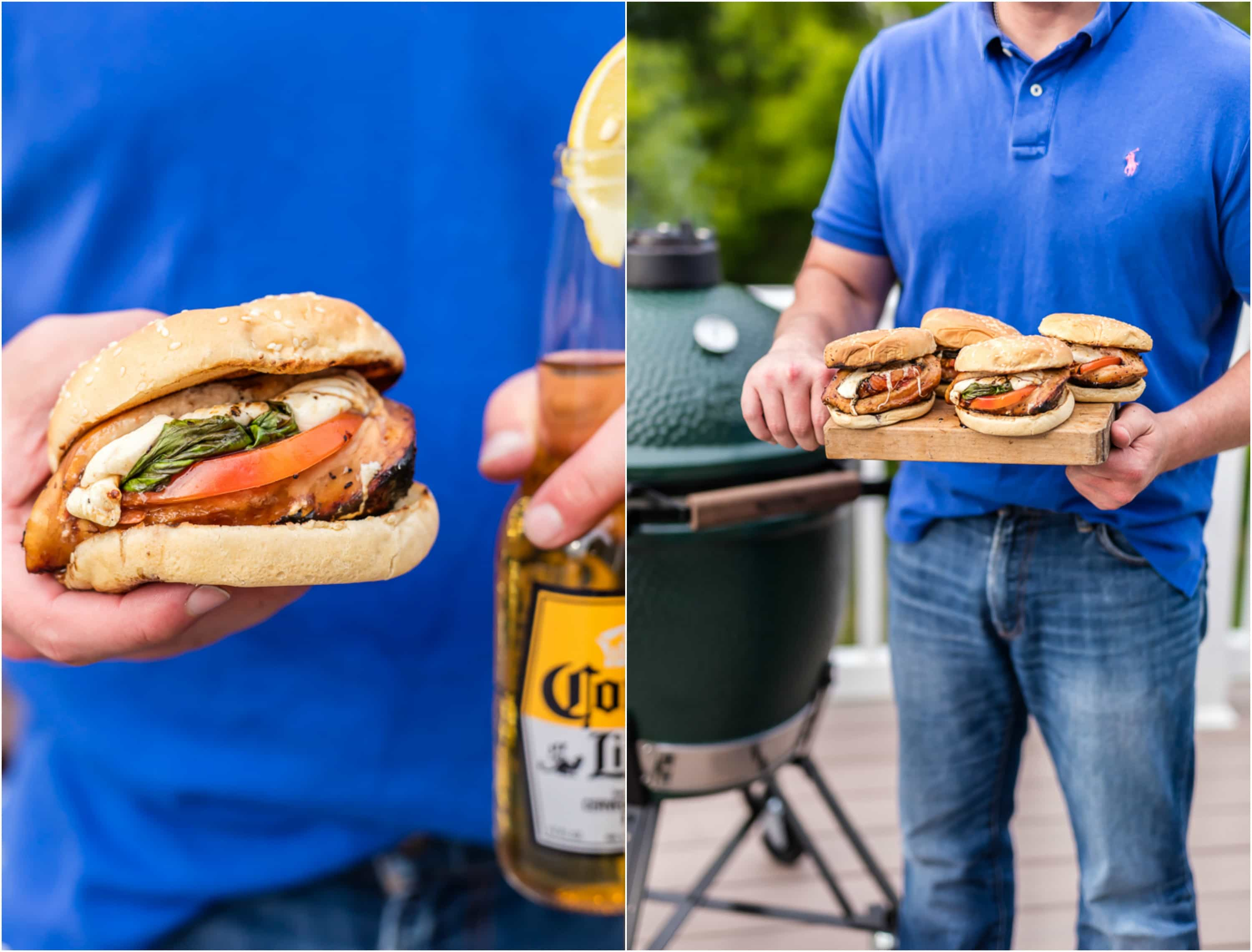 man holding a wood cutting board with chicken sandwiches