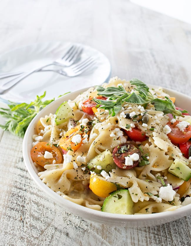 Mediterranean Pasta Salad | The Chunky Chef
