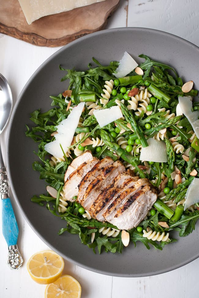 Spring Pasta Salad with Asparagus, Peas, and Greens | Life is But A Dish