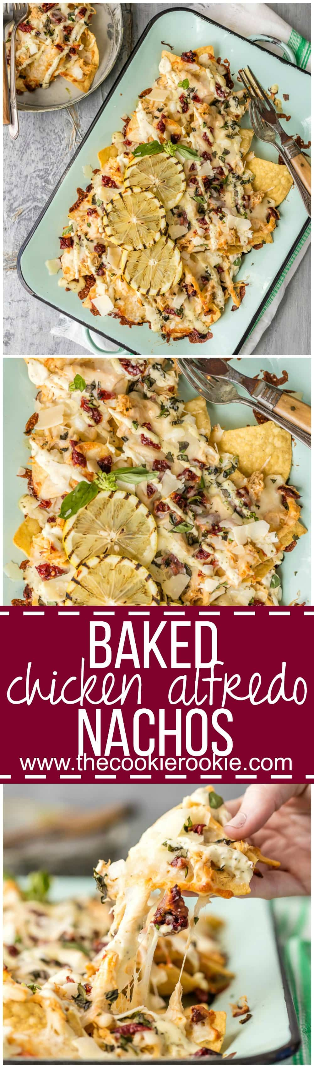 Stop everything and make BAKED CHICKEN ALFREDO NACHOS! The Pulled Chicken Alfredo is made in a slow cooker, then baked onto tortilla chips along with lots of cheese, alfredo, sun dried tomatoes, and basil! TO DIE FOR!