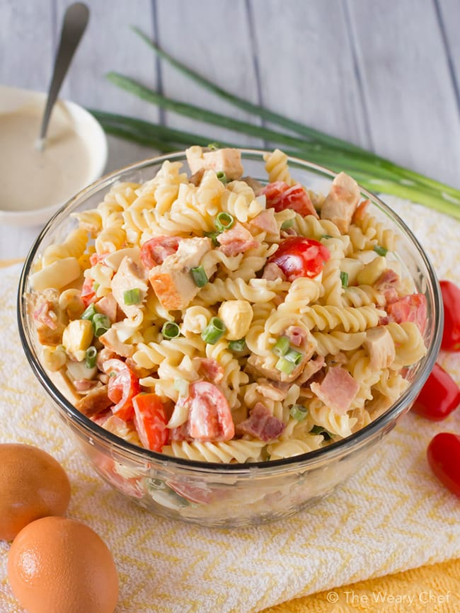 Chicken Caesar Pasta Salad with bacon and egg | The Weary Chef