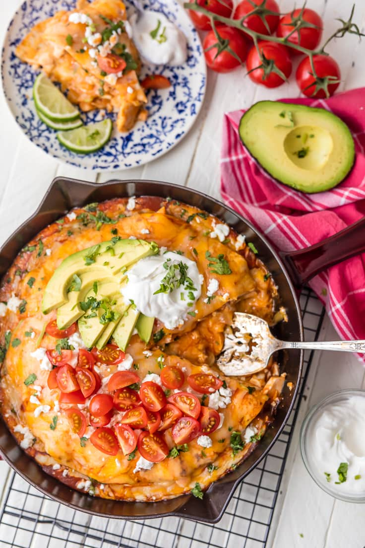 enchiladas in a skillet