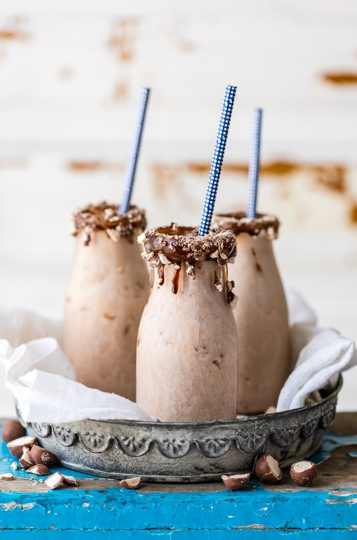This Chocolate Banana Malt Milkshake is my favorite easy sweet treat! Thrown together in minutes with only 5 ingredients, it doesn't get any better! Voted best milkshake in Missouri!