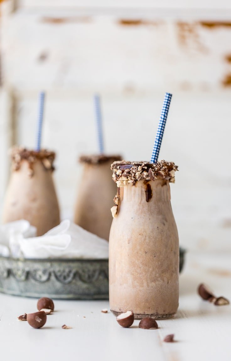 malted milkshake with straw