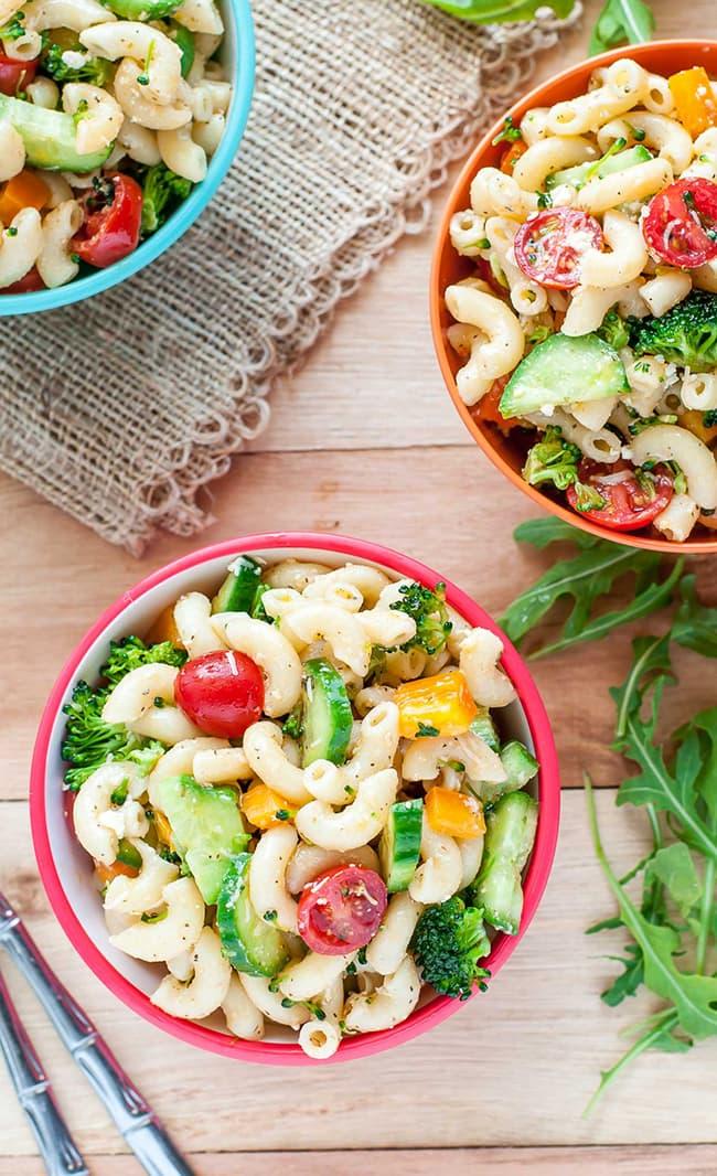 Classic Italian Veggie Pasta Salad | Peas and Crayons