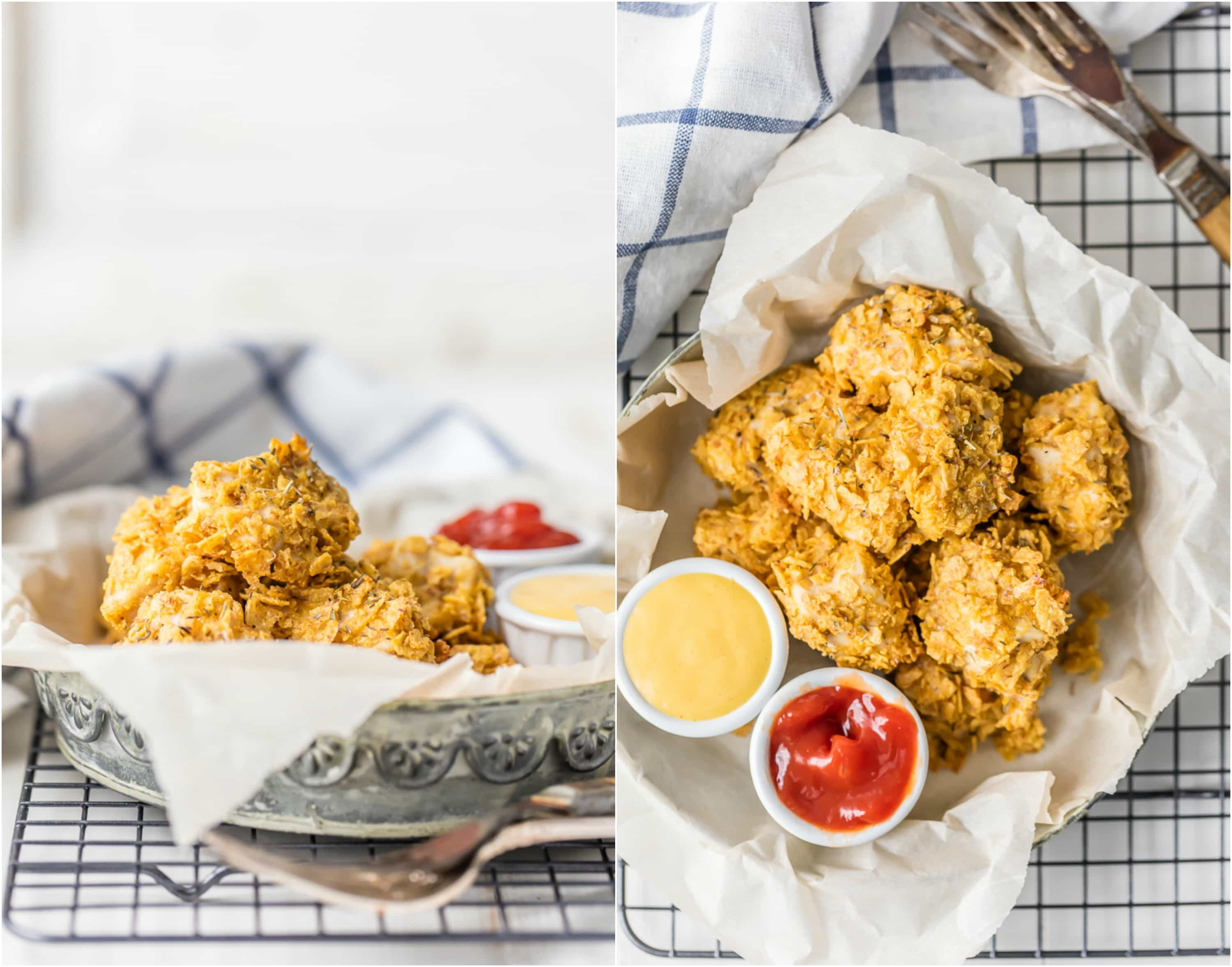 FREEZER FRIENDLY FRENCH ONION CHICKEN NUGGETS! Baked in the oven to make skinny chicken nuggets, crispy from the sunchip coating. BEST EVER! Great for both kids and adults. Make now, freeze, and eat later!