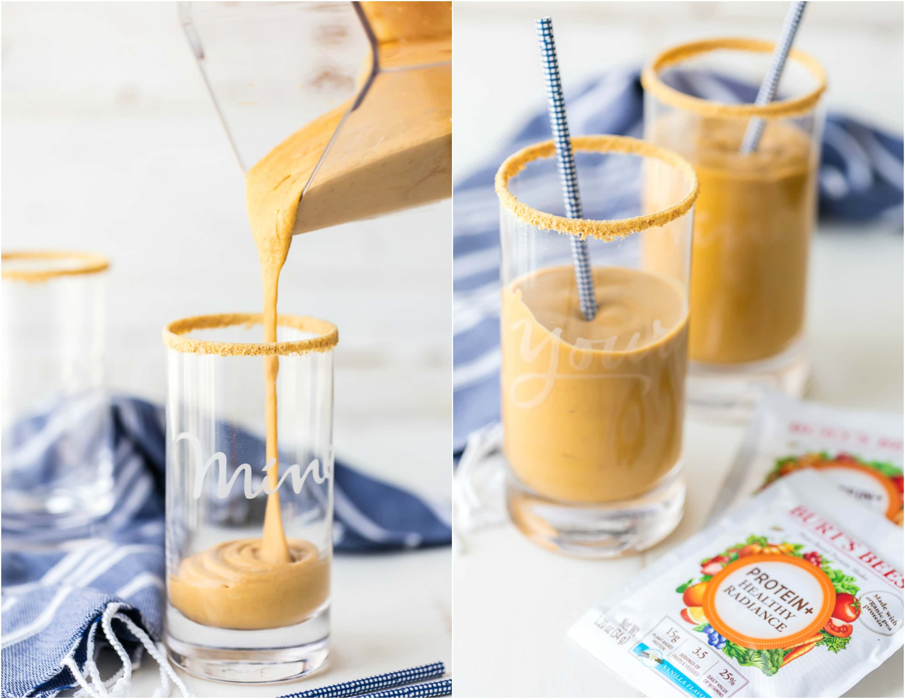 Start your day the right way with a PUMPKIN PIE PROTEIN SMOOTHIE! Loaded with protein powder, greek yogurt, pumpkin, and banana. Tastes just like pumpkin pie in smoothie form.