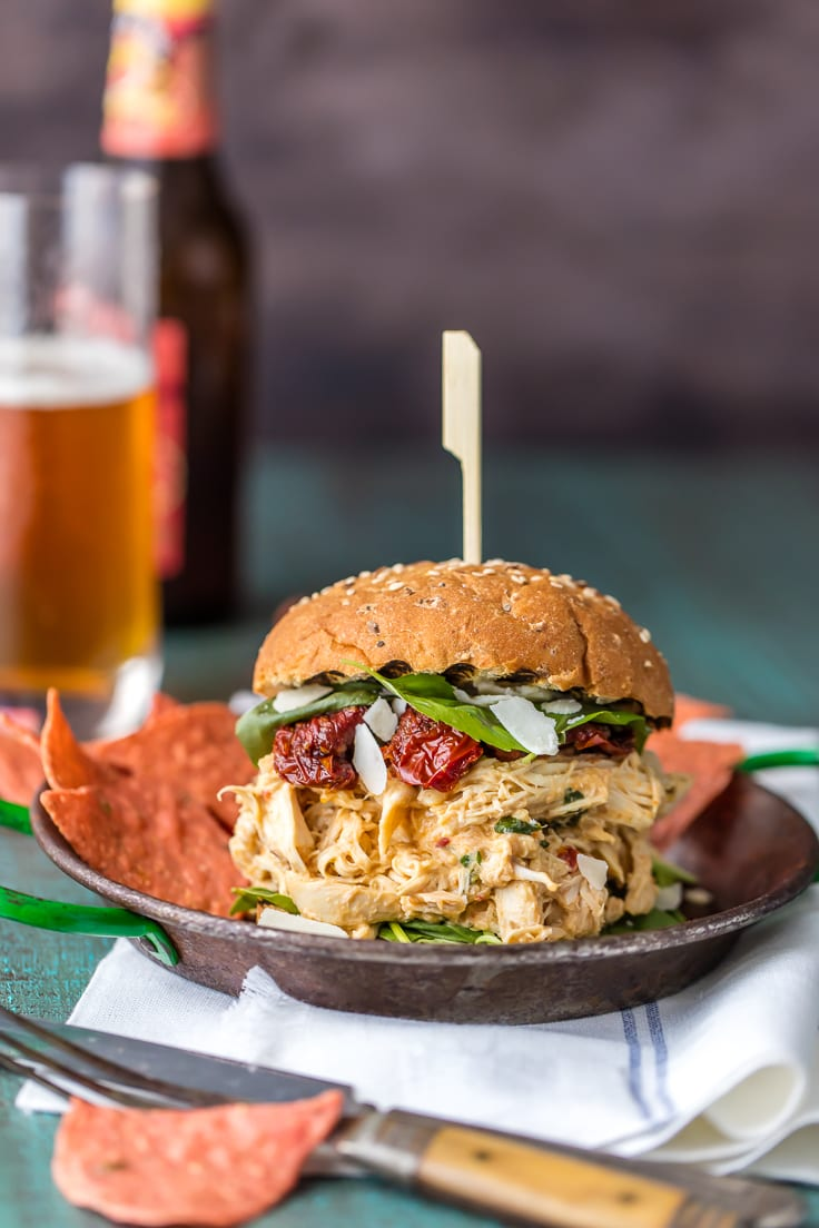 crock pot pulled chicken alfredo sandwich