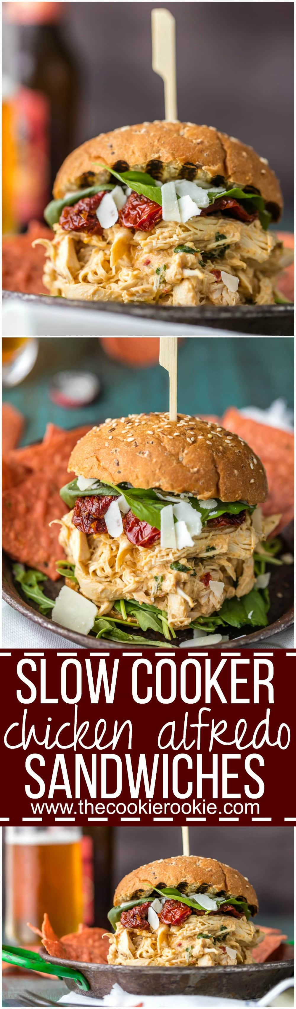 These SLOW COOKER CHICKEN ALFREDO SANDWICHES are simple, easy, and delicious. A quick and easy crockpot meal the entire family will love. Topped with sun dried tomatoes, basil, and parmesan. PERFECTION!