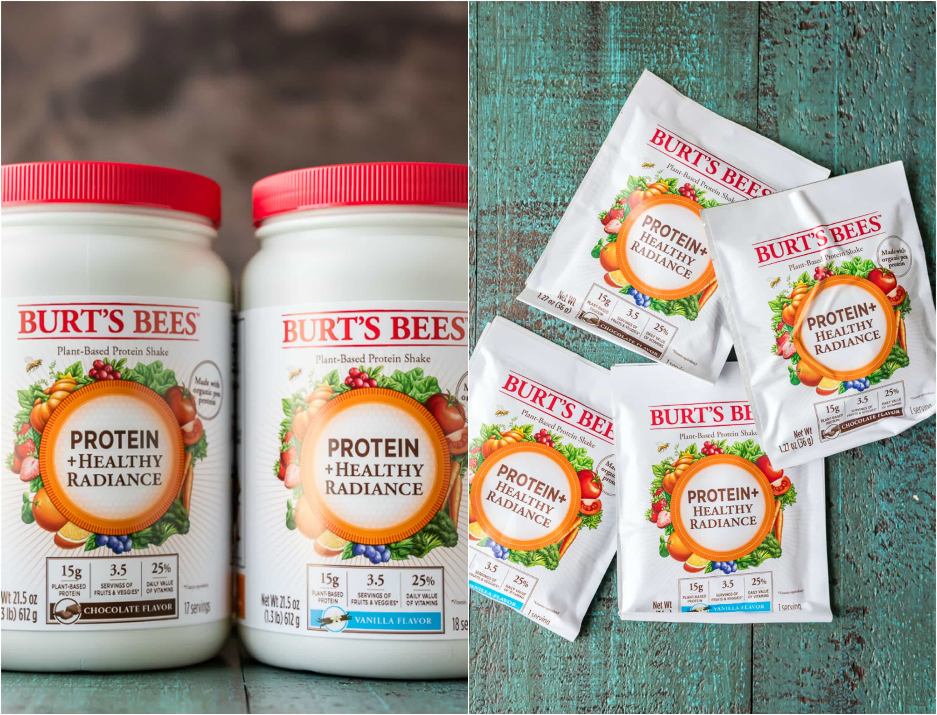 bottles and packets of Burt's Bees protein + healthy radiance powder