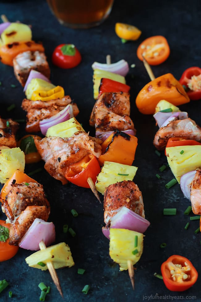 Caribbean Grilled Salmon Kabobs | Joyful Healthy Eats