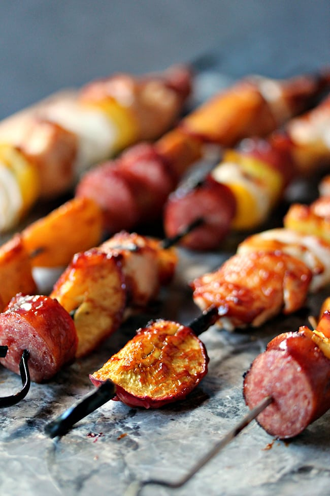 Chicken Peach and Sausage Kebabs | Cravings of a Lunatic