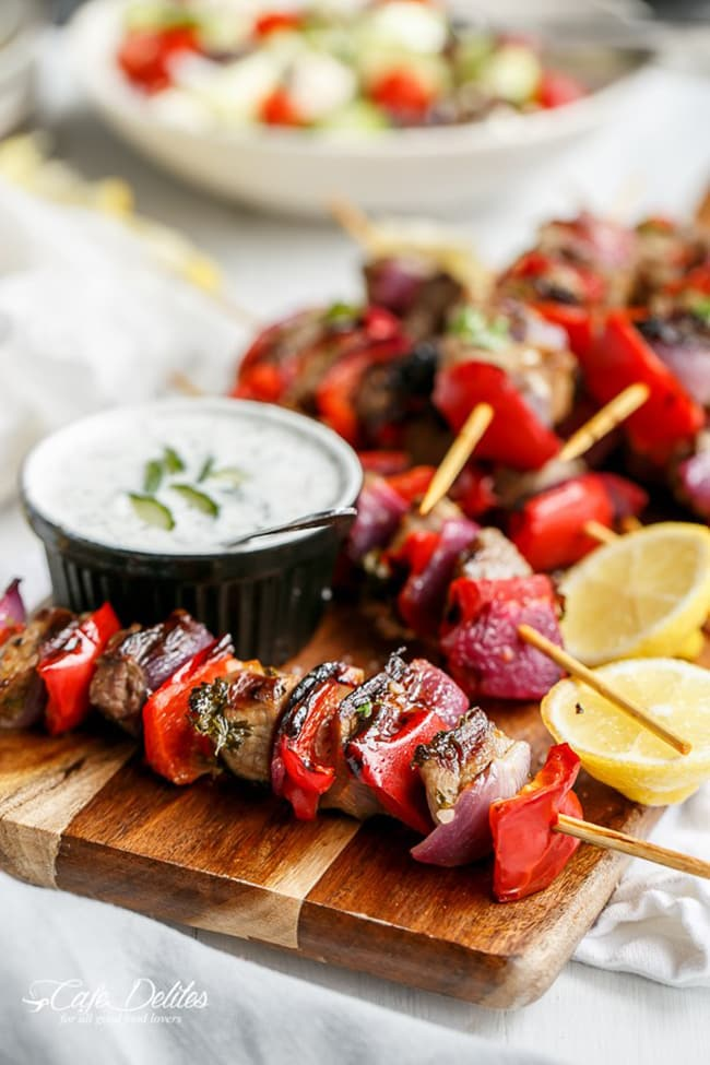 Greek Style Lamb Skewers with Greek Yogurt Sauce | Cafe Delites