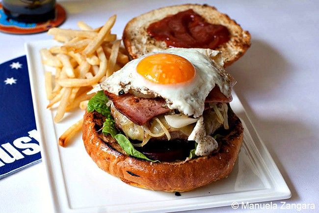 "Aussie Burger with ""The Lot"" | Manu's Menu"