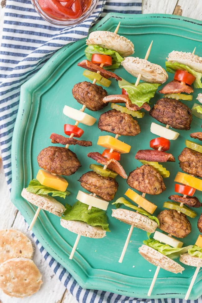 Bacon Cheeseburger Kebabs | The Cookie Rookie