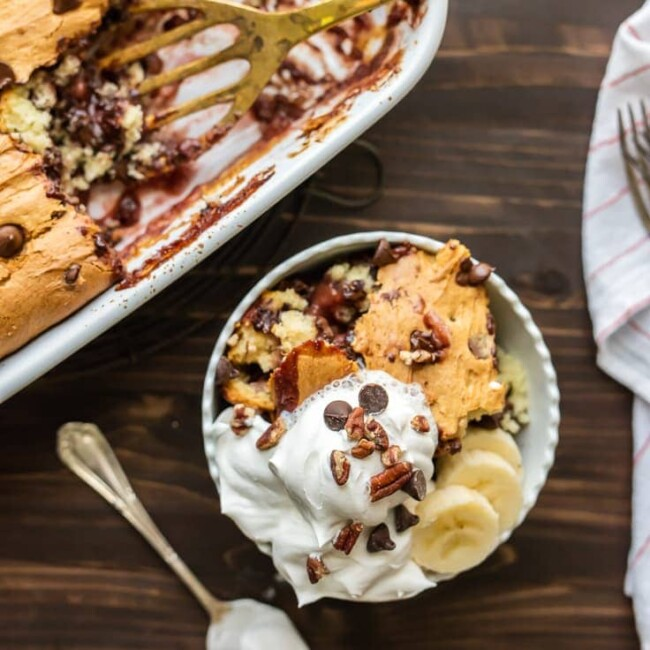 Banana Split Dump Cake is the BEST DESSERT EVER!! This dump cake is thrown together in minutes with just 6 ingredients and is sure to be an instant crowd pleaser!