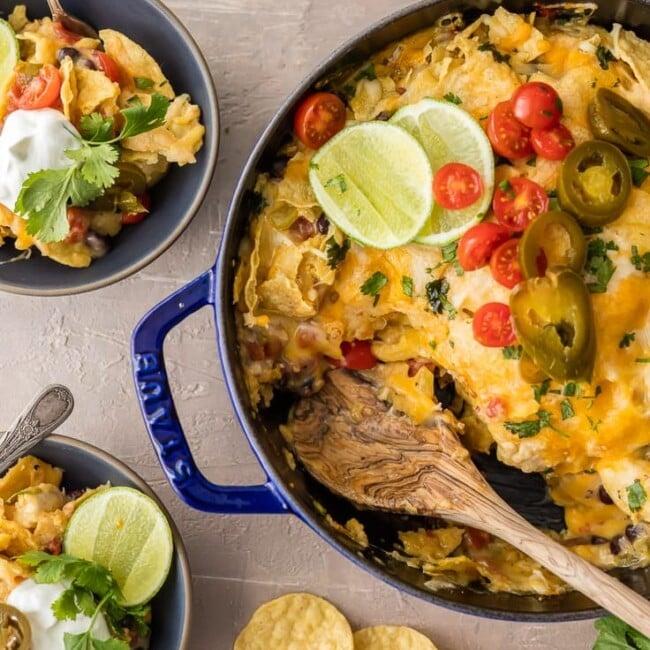 pan of chicken nacho casserole