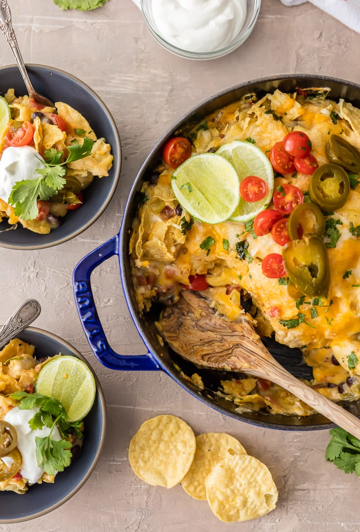 chicken nacho casserole in a casserole dish