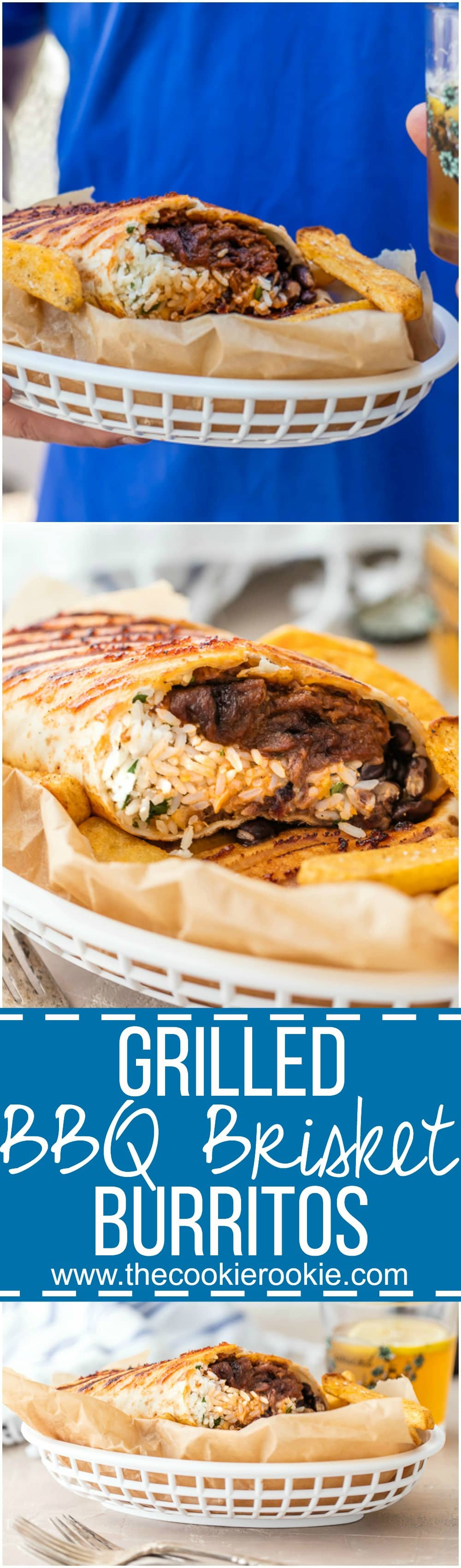 GRILLED BBQ BRISKET BURRITOS are the perfect way to enjoy Summer outside! BBQ has never been better than in a HUGE burrito! Stuffed with Cilantro Lime Rice, black beans, and tons of cheese. YUM!