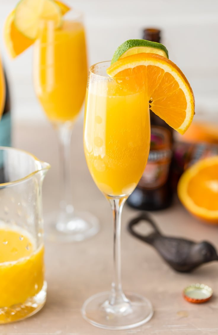ginger beer mimosa in a champagne glass