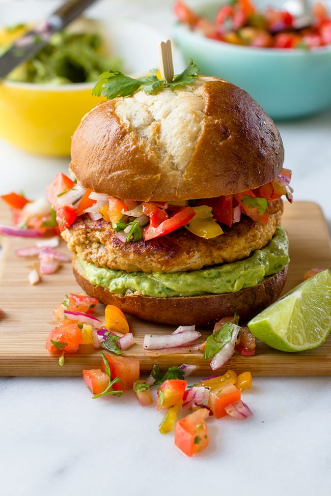 Salsa Chicken Burgers with Cilantro-Avocado Sauce | Back to Her Roots