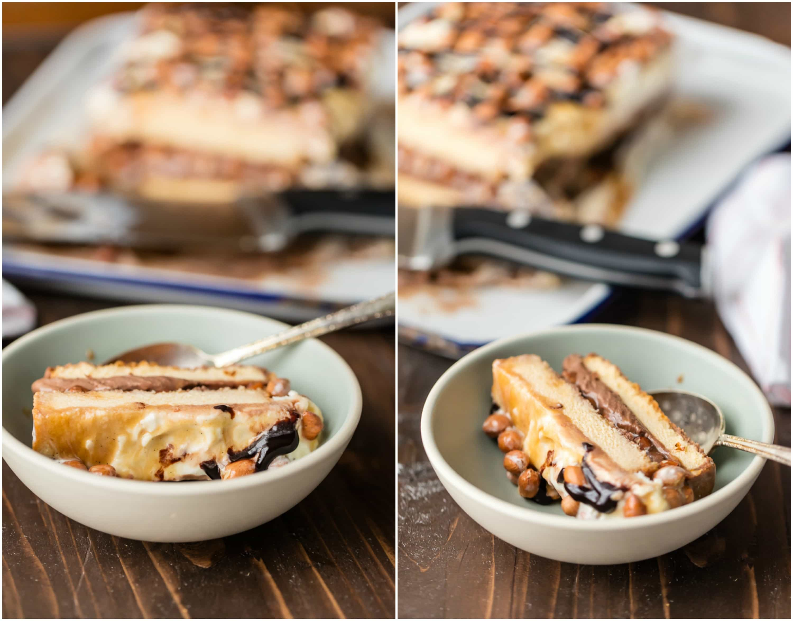 Be the hero of any party with this LAZY GIRL'S SNICKERS ICE CREAM CAKE! Made with pound cake, chocolate and vanilla ice cream, caramel, and peanuts. BEST EASY ICE CREAM CAKE EVER!