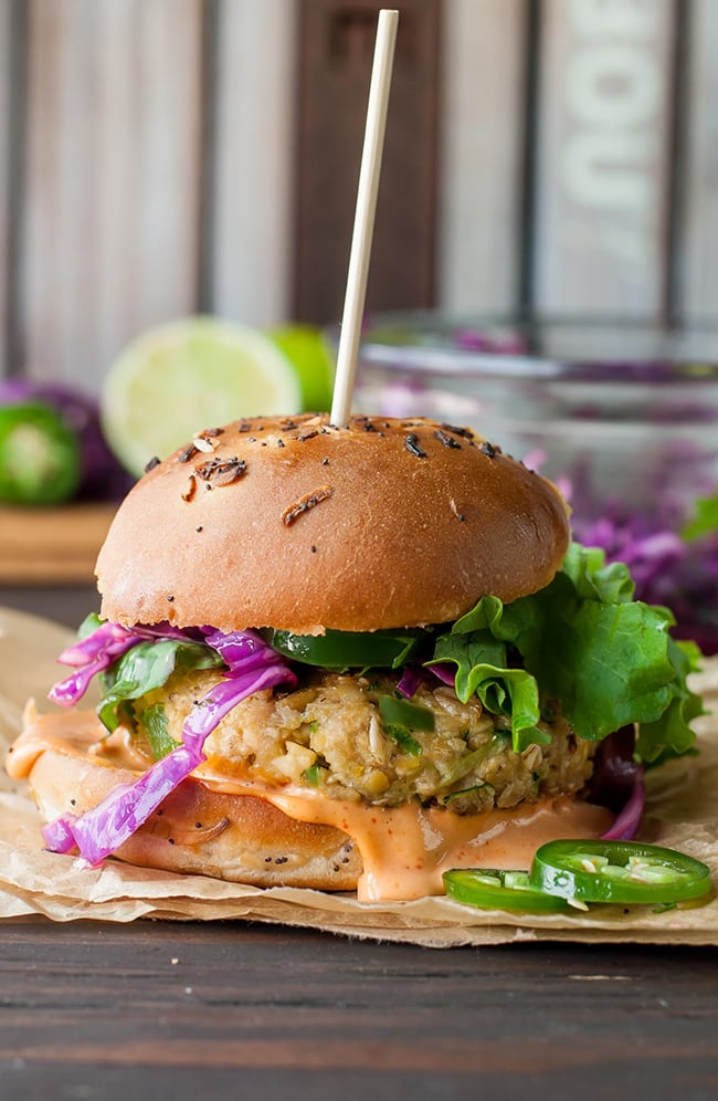 Spicy Chickpea Veggie Burgers with Jalapeno and Zucchini | Peas and Crayons