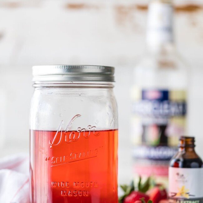 strawberry shortcake vodka in a mason jar
