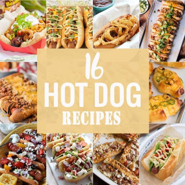16 AMAZING HOT DOG RECIPES to make any BBQ complete! Perfect hot dog recipes for tailgating, parties, getting together with friends, and more! Every style of hot dog you can think of!